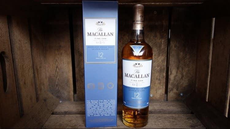 Виски Макаллан 12 лет выдержки порадует ароматом нектарина и миндаля.