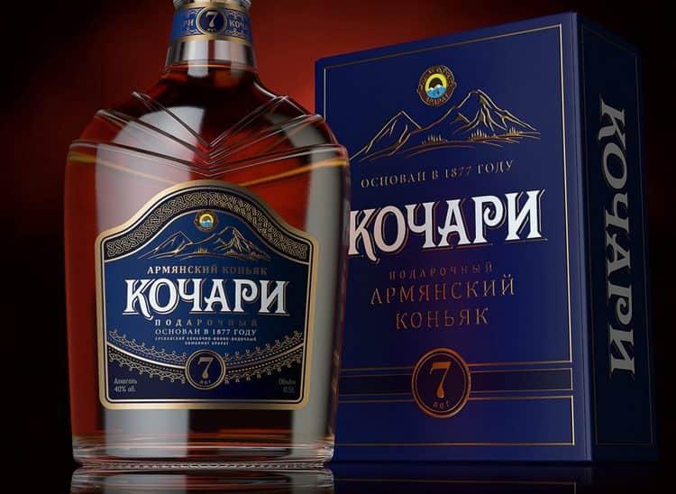 Подарочный коньяк Кочари 7 лет выдержки является самым крепким в линейке.
