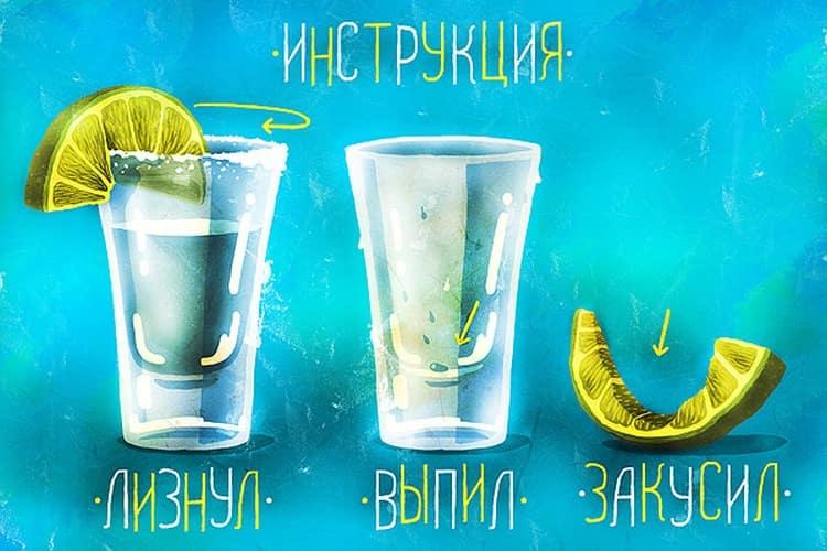 Посмотрите на последовательность, как пить текилу правильно с солью и лимоном.