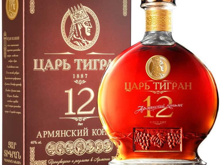 Коньяк Царь Тигран 12 лет выдержки обладает насыщенным цветом и богатым ароматом.