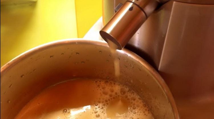 Выжимаем сок из подготовленных фруктов