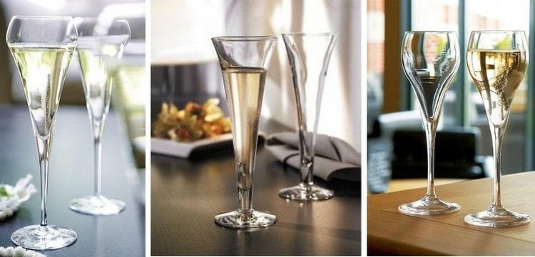 Есть разные виды бокалов для шампанского.