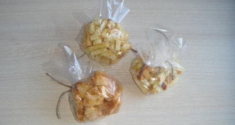 Мешочки с сухариками